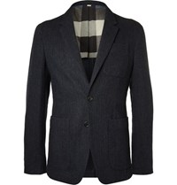 Burberry Blue Herringbone Wool Blazer Storm Blue