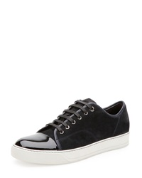 Lanvin Suede And Patent Leather Low Top Sneaker Navy