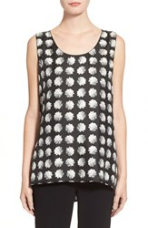 Women's Max Mara 'Jago' Floral Print Silk And Jersey Tank Black