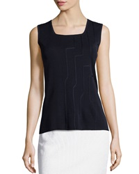 Ming Wang Piped Square Neck Tank Navy