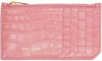 Saint Laurent Pink Croc Embossed Fragments Card Holder