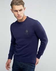 Franklin And Marshall Knitted Crew Neck Jumper Navy