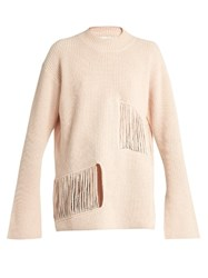 Stella Mccartney Shredded Panels Oversized Sweater Nude