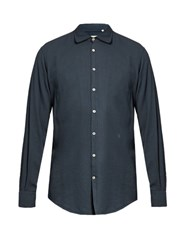 Massimo Alba Long Sleeved Cotton Blend Shirt Blue