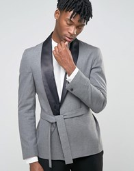 Asos Skinny Smoking Jacket In Grey Grey Black