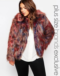 Alice And You Shaggy Coloured Fur Jacket Multi