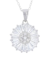 Lord And Taylor Cubic Zirconia Sterling Silver Daisy Pendant Necklace