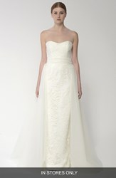 Bliss Monique Lhuillier Women's Embroidered Lace Gown With Detachable Tulle Overskirt Silk White
