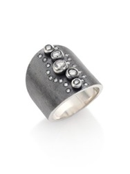 Rene Escobar Diamond And Sterling Silver Wide Band Ring