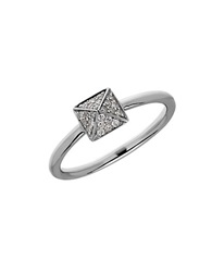 Lord And Taylor Diamond And Sterling Silver Pyramid Ring
