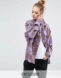 Reclaimed Vintage Overdye Military Jacket In Camo Print Purple