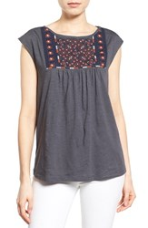 Women's Caslon Embroidered Cap Sleeve Knit Top Grey Ivory Embroidery