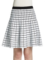 Saks Fifth Avenue Black Grid Jacquard Skater Skirt White Black