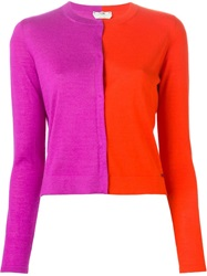 Fendi Colour Block Cardigan Pink And Purple