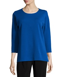 Caroline Rose 3 4 Sleeve Flat Wool Knit Top Royal