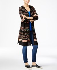 Hooked Up By Iot Juniors' Hooded Midi Cardigan Black Rainbow Space Dye Combo