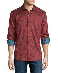 Robert Graham Cookie Embroidered Jacquard Sport Shirt Cinnamon Red