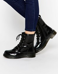 Park Lane Chunky Lace Up Ankle Boots Black Hi Shine