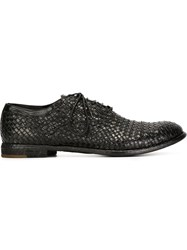 Officine Creative Woven Oxford Shoes Black