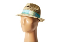Columbia Sun Drifter Straw Hat Natural Geyser Plaid Fedora Hats Beige