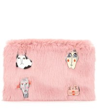 Shrimps Florent Applique Faux Fur Clutch Pink