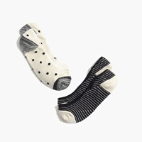 Madewell Two Pack Polka Dot Low Profile Socks Black Cream