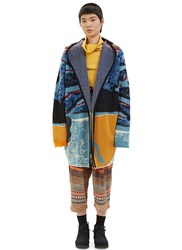 Anntian Patterned Hooded Knit Cardigan Blue