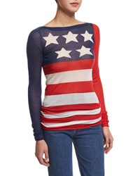 Marc Jacobs Long Sleeve American Flag Tunic Top Red White Blue