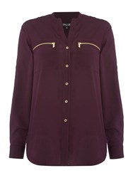 Episode Zip Pocket Shirt Aubergine