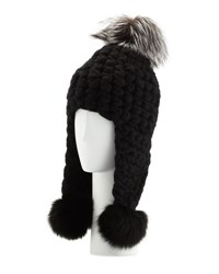 Mischa Lampert Chunky Knit Wool Pompom Trapper Hat Black
