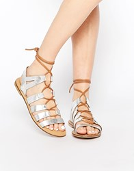 Park Lane Gladiator Leather Flat Sandals Silver