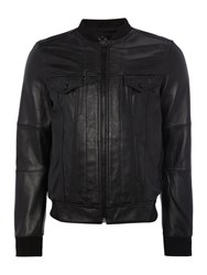 Replay Leather Jacket With Ribbing Black