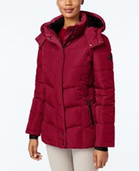 Calvin Klein Fleece Lined Hooded Puffer Coat Crimson