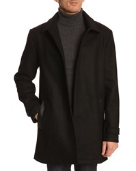 Menlook Label Long Black Wool Coat