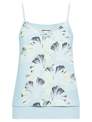 Whistles Palm Print Double Layer Cami Top Pale Blue