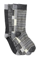 Lucky Brand Stripes And Plaid Crew Socks Pack Of 4 Black