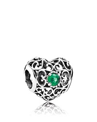 Pandora Design Pandora Charm Sterling Silver And Crystal May Signature Heart