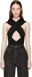 Balmain Black Rib Knit Criss Cross Bodysuit
