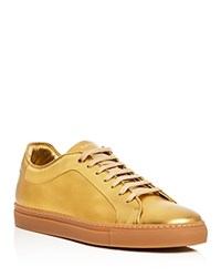 Paul Smith Basso Metallic Lace Up Sneakers Gold