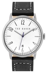 Ted Baker Round Leather Strap Watch 42Mm Black Silver