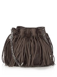 Stella Mccartney Falabella Fringed Faux Suede Cross Body Bag Brown