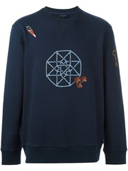 Lanvin Embroidered Graphic Sweatshirt Blue