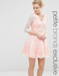Chi Chi Petite Chi Chi London Petite Mini Longsleeve Lace Prom Dress Blush