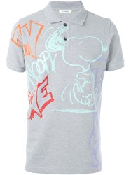 Iceberg Snoopy Print Polo Shirt Grey