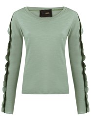 Andrea Bogosian Scalloped Long Sleeve Top Green