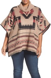 Lucky Brand Plus Size Women's Geo Pattern Turtleneck Poncho
