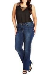 Plus Size Women's City Chic 'Shoppaholic' Stretch Boot Leg Jeans Dark Denim