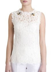 Dolce And Gabbana Sleeveless Embroidered Lace Blouse White