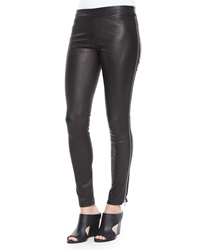 Vince Side Zip Leather Leggings Black