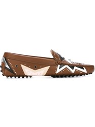 Tod's Studded Loafers Brown
